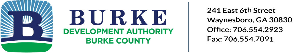 Burke County Development Authority. 241 East 6th Street, Waynesboro, GA 30830, Office: 706.554.2923,  Fax: 706.554.7091